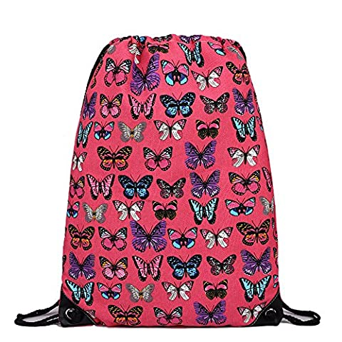 Cotton Canvas Waterproof Printed Drawstring Gym Work Backpack Rucksack (Butterfly Plum) (Backpack With Butterflies)