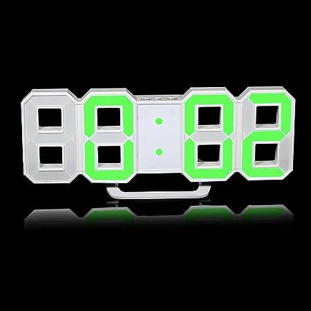 Moda Grande 8-Forma LED Reloj de Pared Digital Reloj Despertador con función Snooze 12/24 Horas Pantalla (Verde): Amazon.es: Hogar