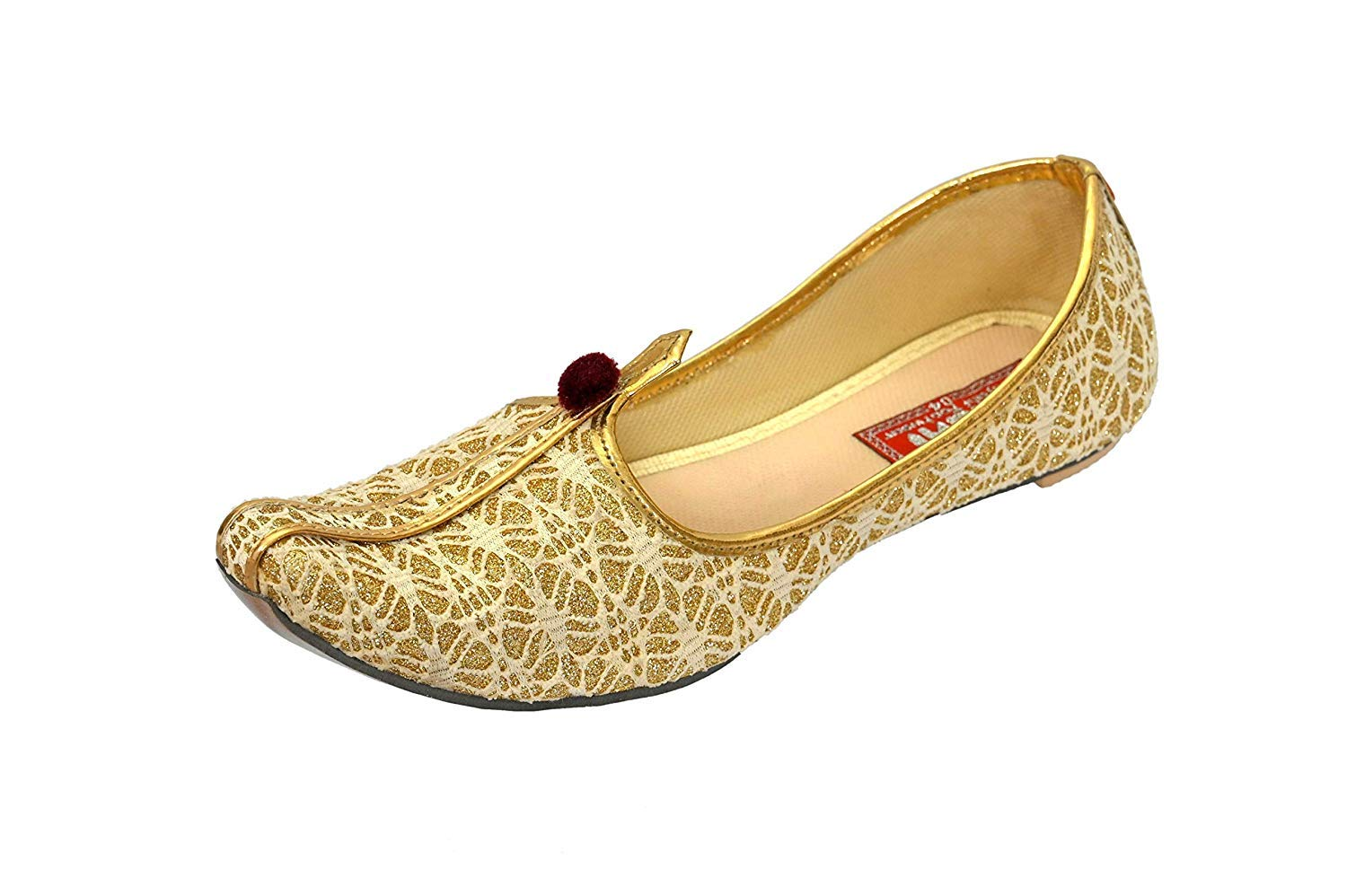 SHAHI PUNJABI FOOTWEAR Kids Golden Jutti Mojari Shoes for Boys Ethnic Mojari SPF-2011 (13C Ind/Age 6-7 yr) by SHAHI PUNJABI FOOTWEAR