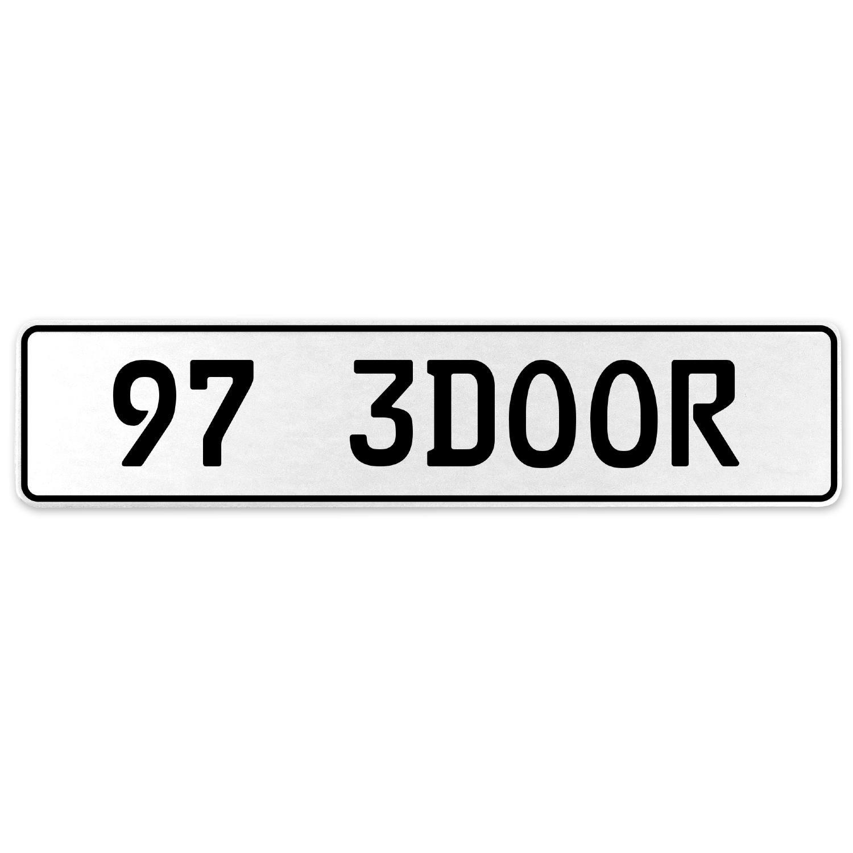 Vintage Parts 558060 97 3DOOR White Stamped Aluminum European License Plate