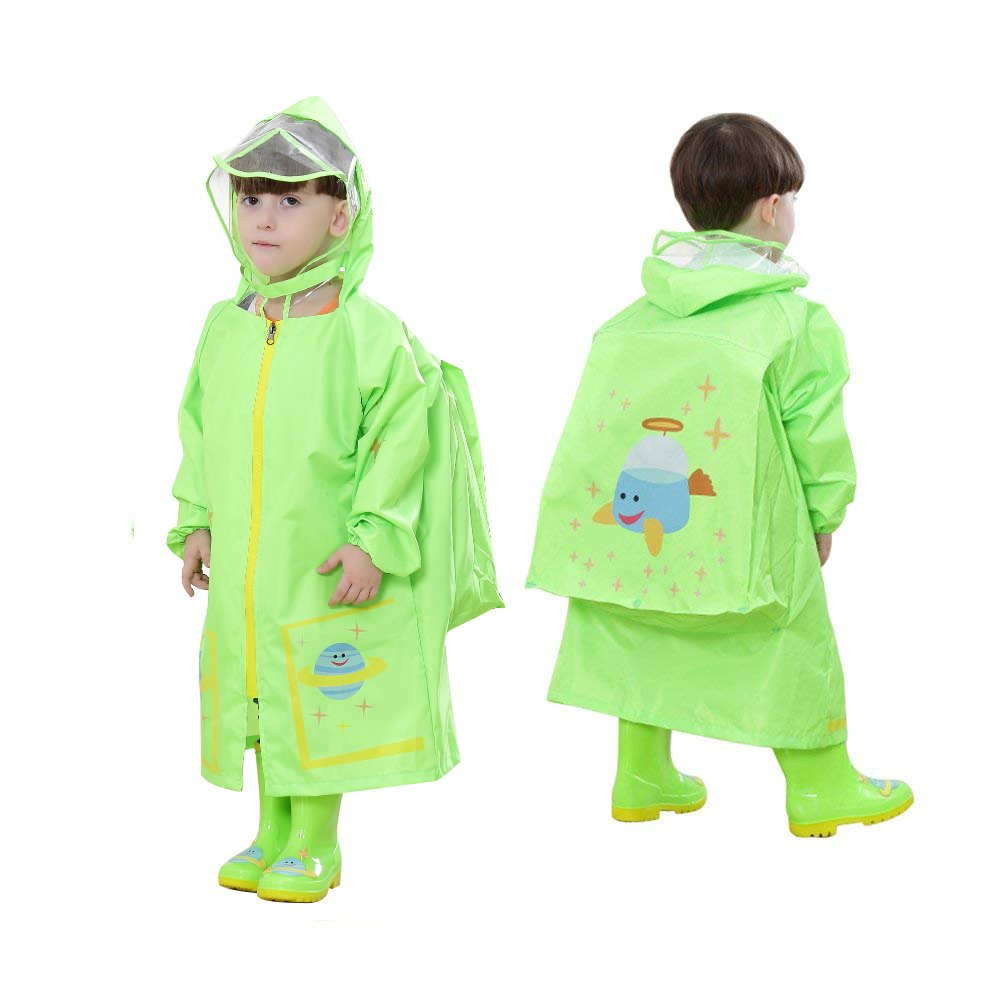 YOUDirect Kids Raincoat - Girl Boy Cartoon Waterproof Hooded Rain Jacket Lightwight Children's Poncho Teens Rainwear with School Bag Cover (M (Fit 3.44~3.94ft Height), Green Airship)