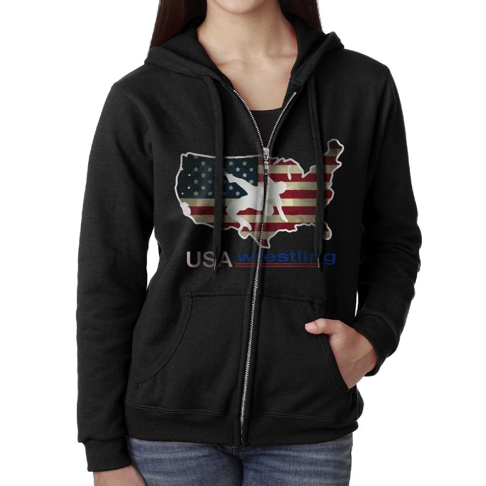 JWLBNIM USA Wrestling Hooded Sweatshirt Full Zip Hoodie With Pocket For Women