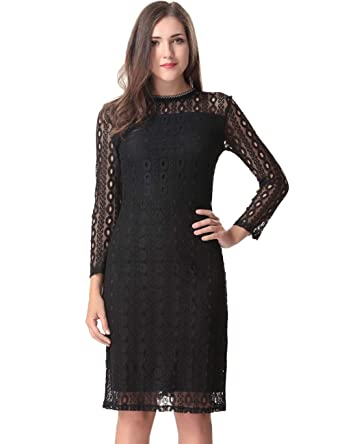 3912e8996088b Aphratti Women's Long Sleeve Vintage Lace Overlay Midi Cocktail Dress Black  Small