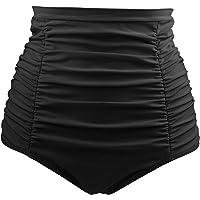 Tempt Me Women's High Waisted Swim Bottom Shirred Bikini Tankini Swimsuit Briefs Tummy Control Swim Shorts