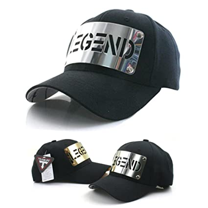 TEAMLIFE Unisex Legend Stainless Metal Plate Cap Hats Snapback Baseball Cap  Sports Outdoor Hip Hop Hat  Color  Black Silver Metal Plate  1Ea   Amazon.co.uk  ... 5cd60b53f6b