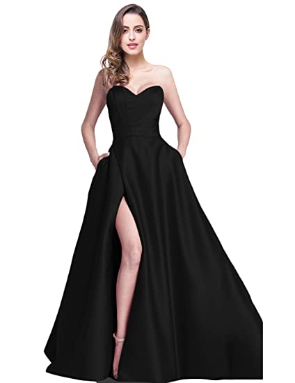 Jicjichos Sweetheart Strapless Prom Dresses Satin High Slit With