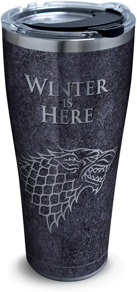 Tervis 1325306 HBO Game of Thrones - Winter Is Here Insulated Travel Tumbler & Lid, 30 oz - Stainless Steel, Silver