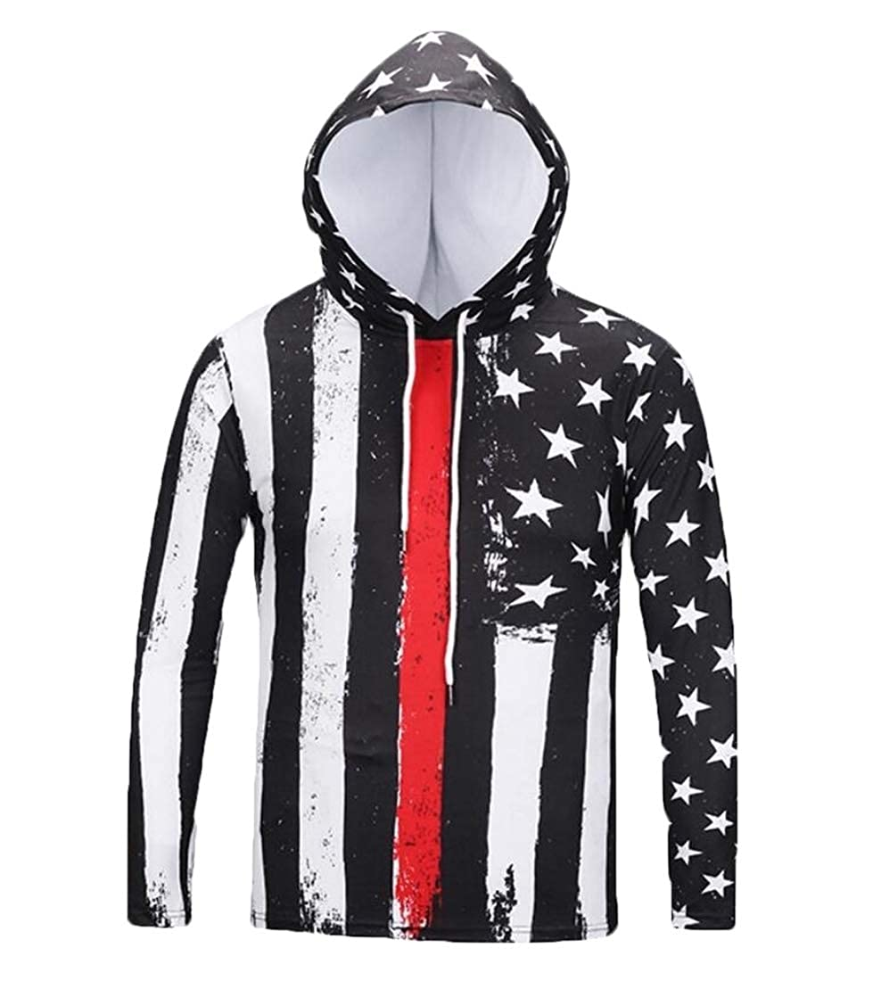 Alion Mens Stylish Slim Print Hoodies Pullover Sweatshirts