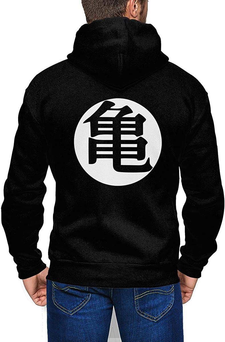 Design Boyfriend Mens Dragon Ball Logo with Hood Pocket Zipper Sweater Black