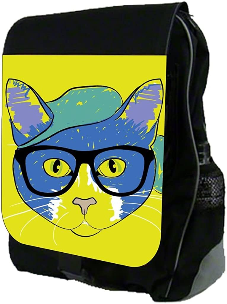 Hipster Kitty Drawing Print Design TM School Backpack