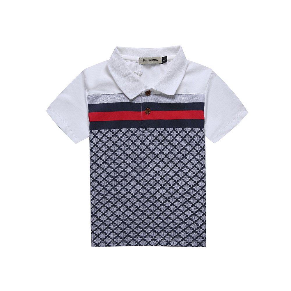 Budermmy Boys Turn-Down Collar Short Sleeve Polo Shirts