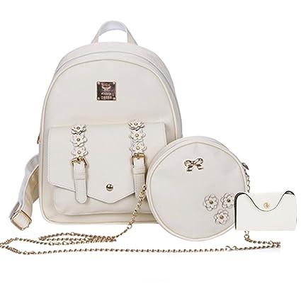 Image Unavailable. Image not available for. Colour  Insasta Set of 3 Pcs  Leather Women s Bag Rivet Pendant Bear Women Shoulder Fashion Backpacks for 1e1aa02475552