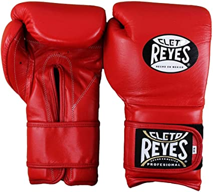 16 OZ Cleto Reyes Hook and Loop Leather Training Boxing Gloves Red