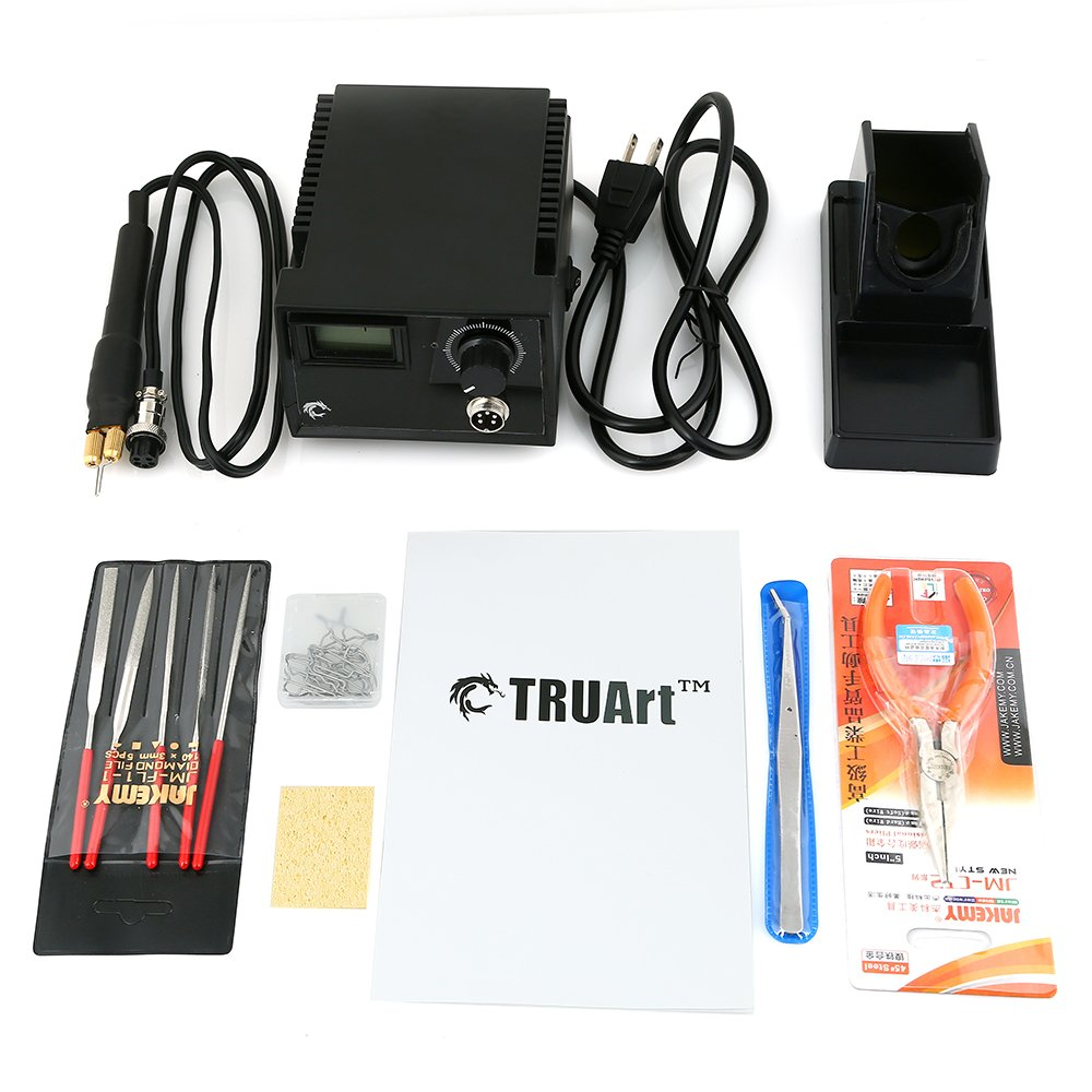 TRUArt Stage 2 Single Pen Professional Woodburning Detailer 60W Tool with Digital Temperature Control, 20 Tips and Case