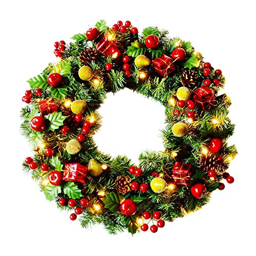 ElementDigital Christmas Wreaths with LED Lights Pre-lit Wreath Green Bristle Pine Needles Red Cherry Gifts Fruits Ornaments for Front Door Window Fireplace Home Decoration 19.5 (Needle Christmas Wreath)