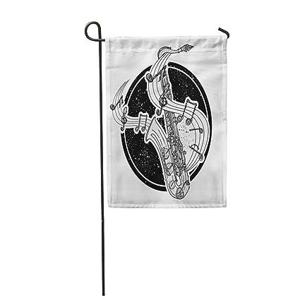 "Semtomn 28""x 40"" Garden Flag Art Jazz Tattoo and T-Shirt Design"