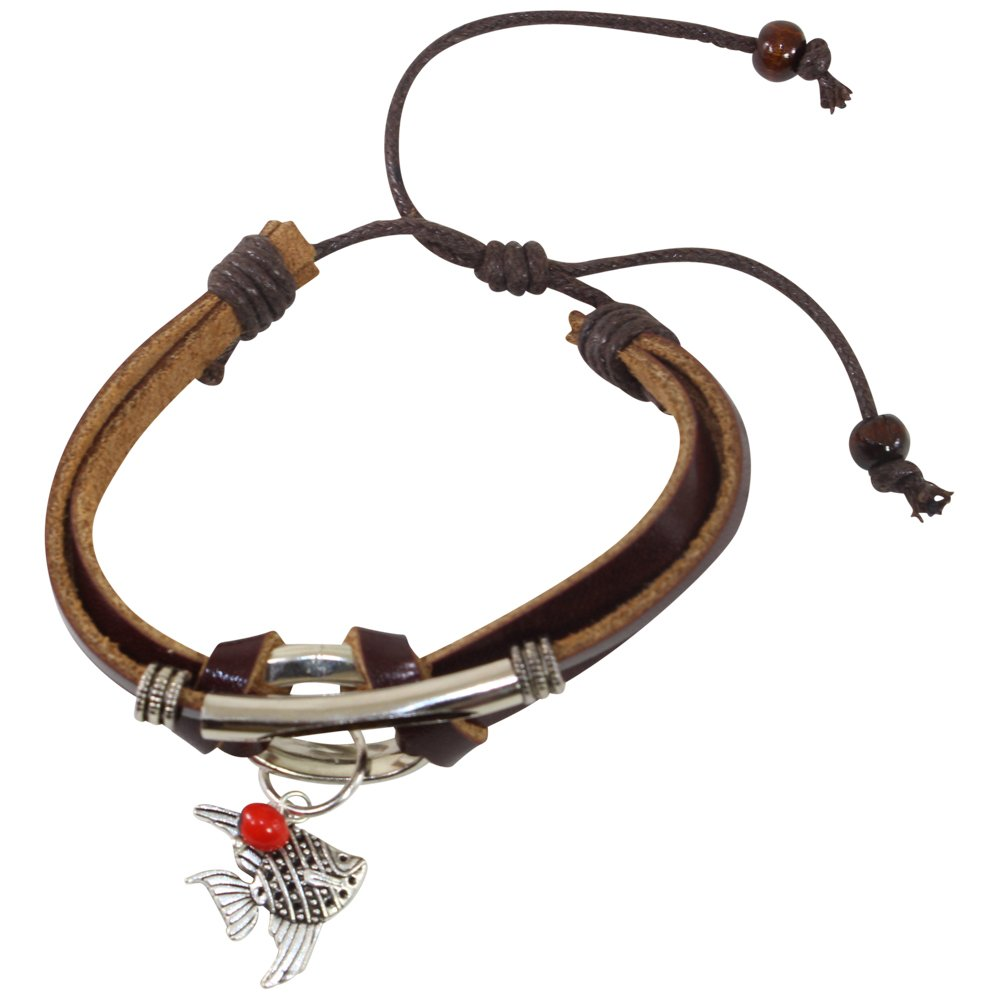 Eco-Friendly Gift Fish Charm Bracelet for Women - Huayruro Red Seeds, Brown leather, Fish Charm - Handmade Jewelry by Evelyn Brooks
