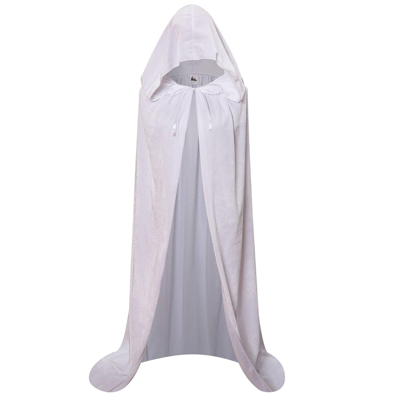 Makroyl Unisex Hooded Cloak Long Velvet Cape for Halloween Christmas Cosplay Costume (L, White)