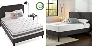 Zinus 10 Inch Gel-Infused Memory Foam Hybrid Mattress, Queen & Shalini Upholstered Diamond Stitched Platform Bed/Mattress Foundation/Easy Assembly/Strong Wood Slat Support/Dark Grey, Queen