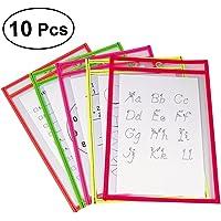 NUOLUX 10pcs Resuable Dry Erase Pockets suministros