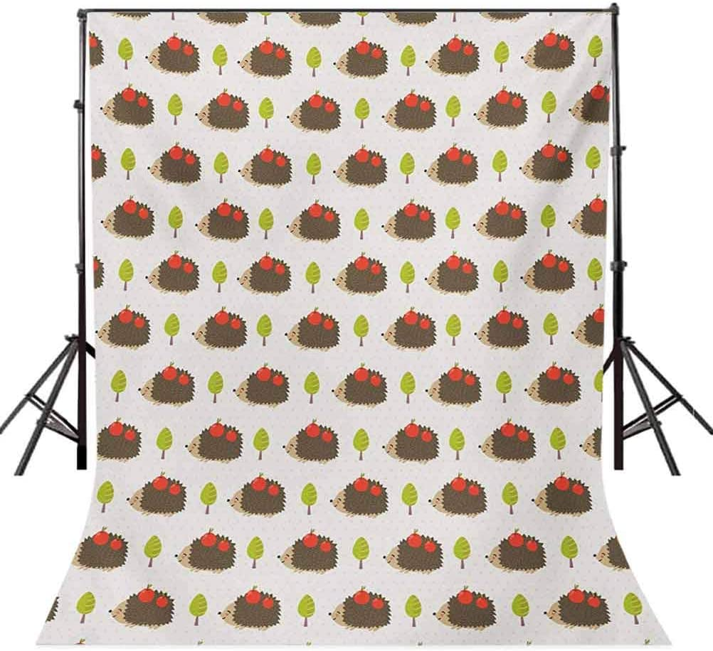Hedgehog 10x12 FT Photo Backdrops,Porcupine Animals with Big Smiles Carrying s on Polka Dot Backdrop with Trees Background for Party Home Decor Outdoorsy Theme Vinyl Shoot Props Multicolor