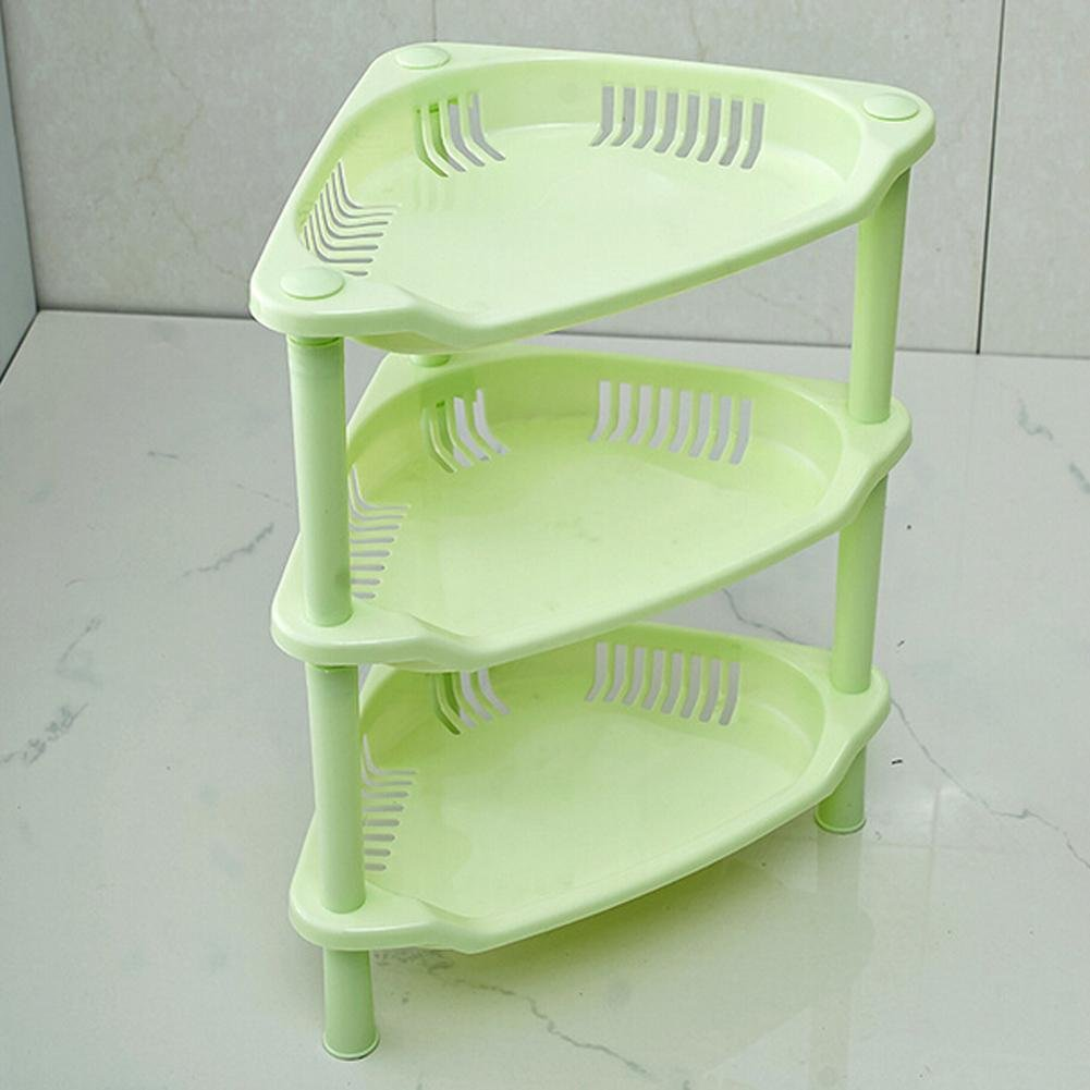 3 Tier Plastic Corner Organizer Bathroom Caddy Shelf Kitchen Storage Rack Holder (Green)