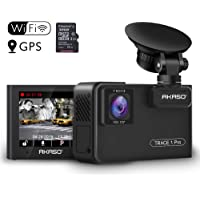 Dual Lens Car Dash Camera - AKASO 2K Dash Cam WiFi with Phone App External GPS Front and Inside Lens with Sony STARVIS Dual Record 1080p30 340° Coverage Included 32GB Card Fatigue Reminder(Trace1 Pro)
