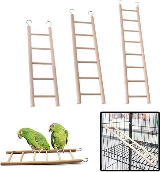 Escalera de madera para mascotas con cinco / seis / ocho peldaños para loros, pájaro, periquito, canario, enjaulado, pequeño pájaro, percha, escalera de escalada, juguetes, paquete de 3: Amazon.es: Productos para mascotas