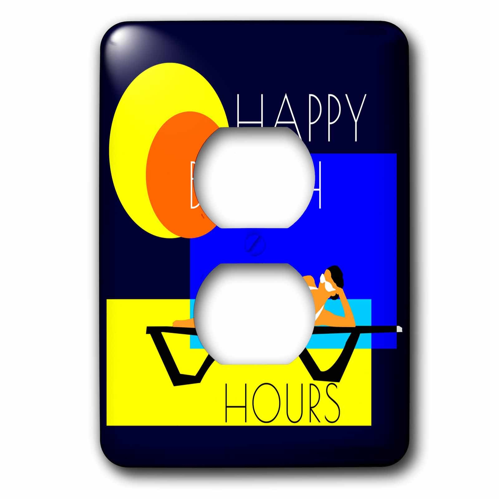 3dRose Alexis Design - Beach, Sea, Surf - Beautiful woman lays on a sun lounge. Happy Beach Hours text - Light Switch Covers - 2 plug outlet cover (lsp_271759_6)