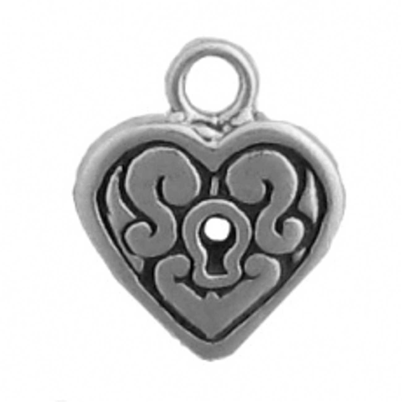 Sterling Silver 7 4.5mm Charm Bracelet With Attached Heart With Key Hole Charm