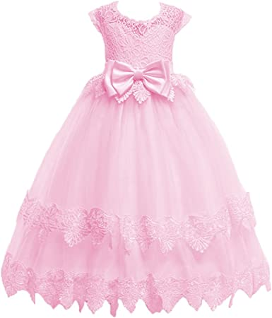 Princess Retro Toddler Kids Baby Girls Lace Dress Party Wedding Bridesmaid Dress