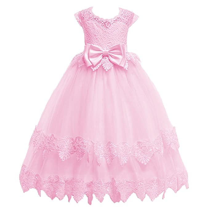 4f9223d6741 Little Big Girl Flower Princess Pageant Vintage Lace Dress for Kids Junior  Bridesmaid Wedding Birthday Party