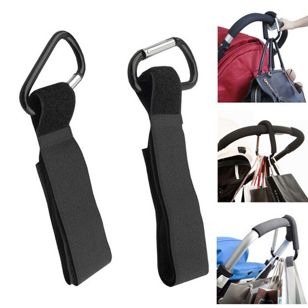 Baby Stroller Hooks - BESTGIFT 2Pcs Wheelchair Stroller Pram Pushchair Car Stroller Carriage Buggy Hook Shopping Bag Clip Aluminum Mummy Buggy Clips BESTT