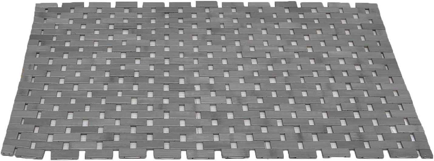 Black Bamboo Bath Mat//Black Bathroom Rugs Natural Foldable Non Slip Wood