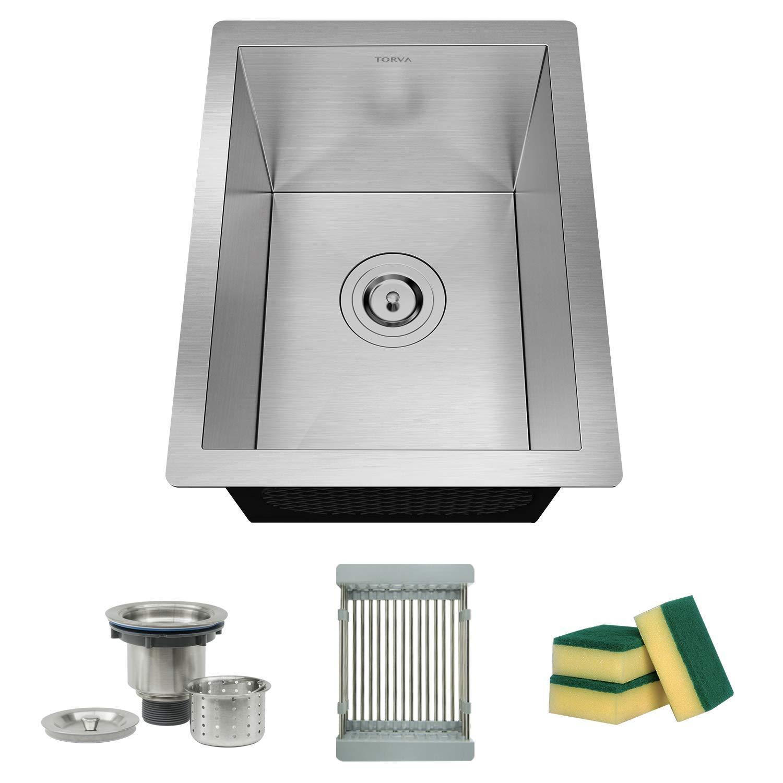 TORVA 14 x 18 Inch 16 Gauge Stainless Steel Undermount Sink, Single Blow Zero-Radius Bar Sink with Sliding Colander and Basket Drain Strainer Suit for 17'' Cabinet in Kitchen/Bar/Prep