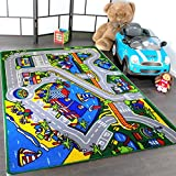 Mybecca Kids Rug Harbor Children Area Rug 5' X 7' (New Street Map Design) Race Track and Resting Area