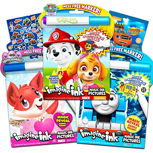 Invisible Ink Books (Paw Patrol Imagine Ink Coloring Book Set for Toddlers Kids -- 3 Magic Ink Books Featuring Paw Patrol, Thomas The Train, Hatchimals with Invisible Ink Pens and Stickers (Mess Free)