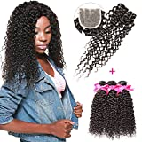 DSOAR 100% Brazilian Unprocessed Curly Virgin Weave Hair 3 Bundles with Closure Deep Curly Human Hair Extensions (10 12 14 inch with 8 inches Free Part Closure)