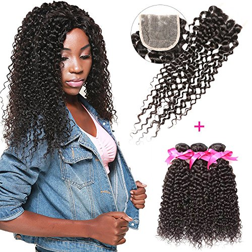 DSOAR 100% Brazilian Unprocessed Curly Virgin Weave Hair 3 Bundles with Closure Deep Curly Human Hair Extensions (10 12 14 inch with 8 inches Free Part Closure) by DSOAR