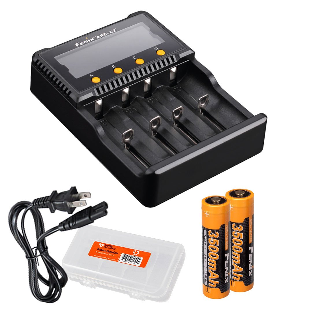 Fenix Bundle are-C2 Plus (are-C2+) Four Channel Digital Multi Charger with Two 3500mAh 18650 Battery Pack & Lumentac Battery Organizer PD35 FD30 FD41 TK15 TK35 TK75 LD75C Flashlights