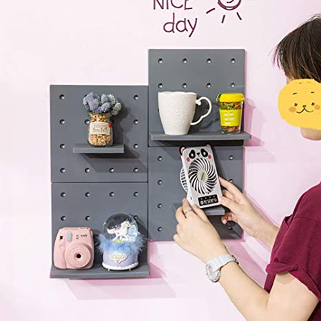 Decorative Diy Pegboard Wall Mounted Organizer Plastic Makeup Storage Shelves Hanger Peg Rack For Jewelry Key Mug Office Kitchen Bedroom Living Room