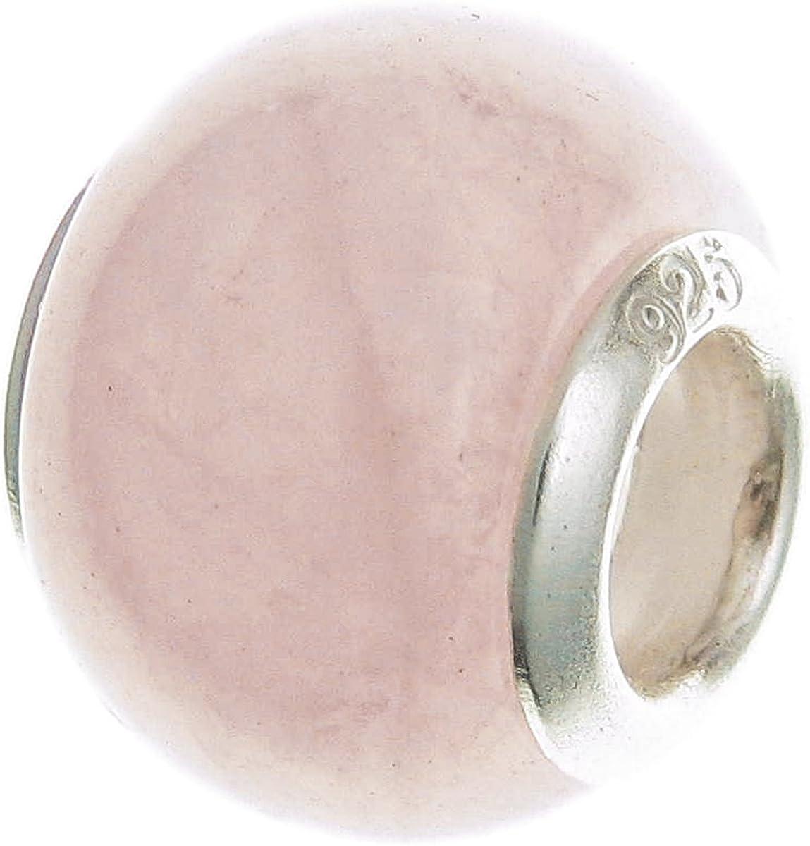 Abalorio redondo de plata de ley 925 con cuentas de cuarzo rosa natural para pulseras de abalorios europeas.