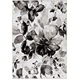 Tansey Charcoal and Light gray Transitional Area Rug 5'2″ x 7'6″