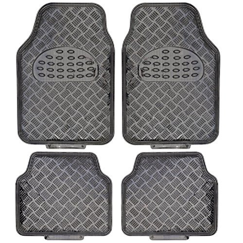 BDK MT-642-CB Universal Fit 4-Piece Metallic Design Car Floor Mat - (Carbon) All Weather Heavy Duty Liners University Front Car Mat
