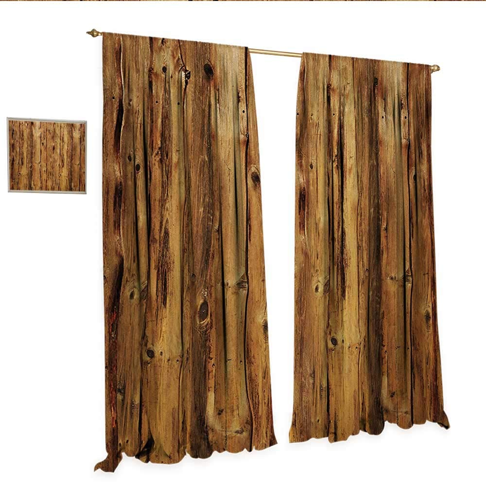 WinfreyDecor Rustic Customized Curtains Wooden Texture Image Nature Forest Trees Pattern with Rough Design Timber Artsy Print Thermal Insulating Blackout Curtain W96 x L84 Brown.jpg