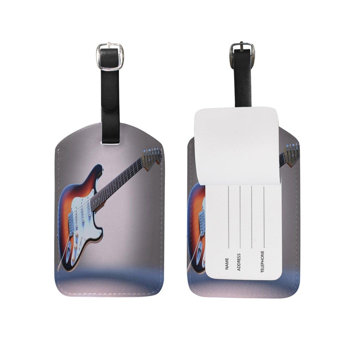 1Pcs Saobao Travel Luggage Tag Guitar PU Leather Baggage Suitcase Travel ID Bag Tag