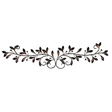 Bellaa 21963 Metal Wall Decor Olive Branch Over The Door 48 Inch by 9-Inch (21963 Brown, 47 Inch)