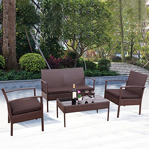 4 PC Conversation Set Furniture Rattan Wicker for Outdoor Garden Beach Patio And Poolside. 1 Rectangle Tempered Glass Top Coffee Table +1 Loveseat +2 Single Sofa +3 Cushions. Color: Chocolate Brown (Lloyd Flanders Wicker)