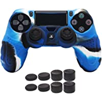 CHINFAI PS4 Controller DualShock4 Skin Grip Anti-Slip Silicone Cover Protector Case for Sony PS4/PS4 Slim/PS4 Pro Controller with 8 Thumb Grips (Camou-Blue)