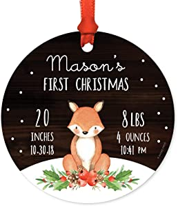 Andaz Press Personalized Metal Christmas Ornament, Baby's First Christmas Birth Stats Info Information 2020, Watercolor Fox in Snow, 1-Pack, Custom, Includes Ribbon and Gift Bag